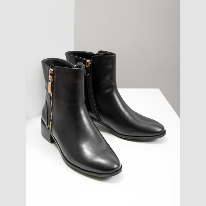 Leather ankle boots with gold zippers bata, black , 594-6654 - 18