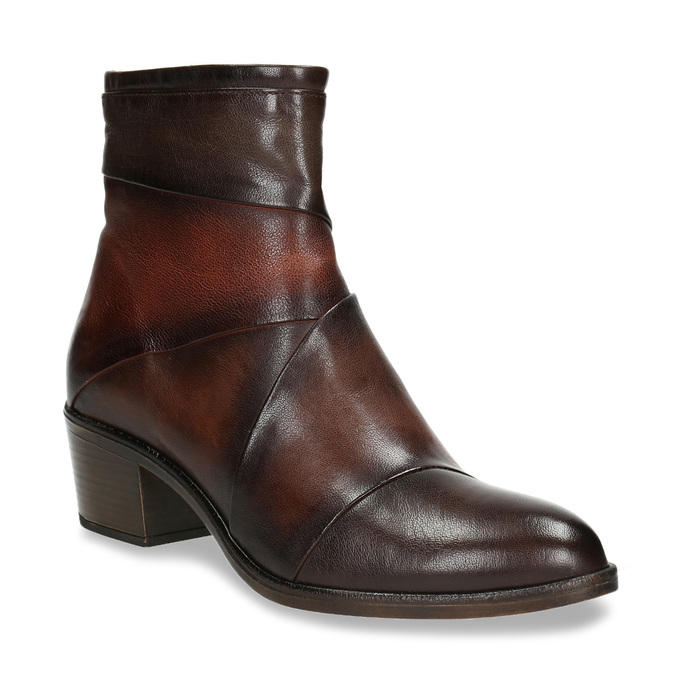Ladies' leather high ankle boots bata, brown , 696-4653 - 13