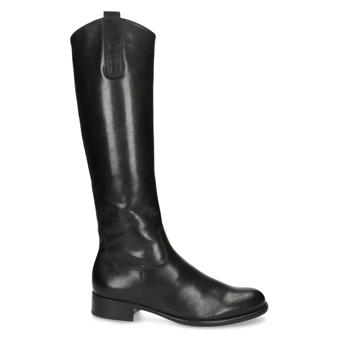 Ladies' leather high boots with low heel gabor, black , 694-6007 - 19