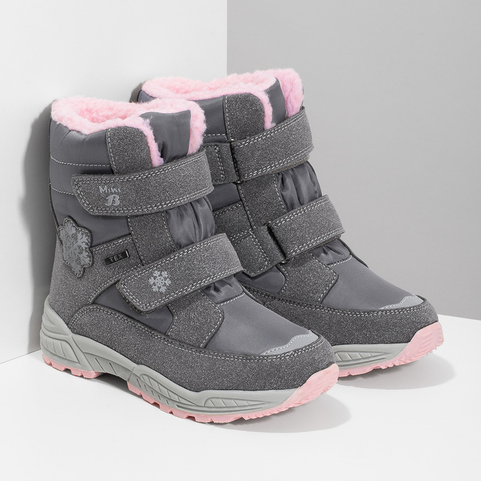 Girls' Snow Boots with Fleece mini-b, gray , 291-2625 - 26