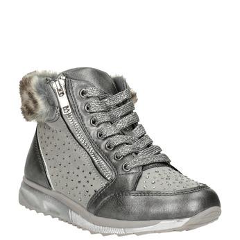 Girls' silver winter boots mini-b, gray , 329-2287 - 13