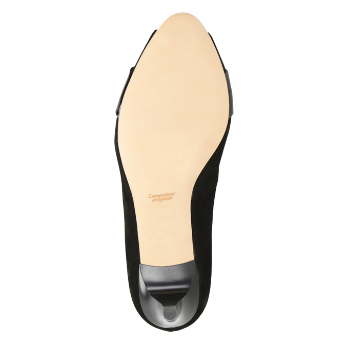 Leather open-toed pumps bata, black , 623-6603 - 17