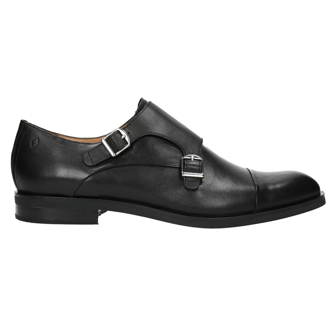 Men's leather Monk Shoes vagabond, black , 814-6023 - 26