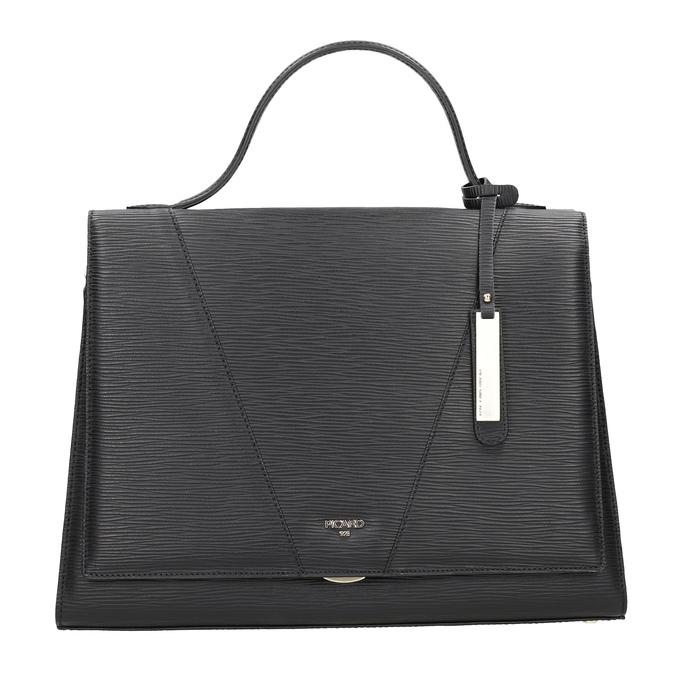 Black Leather Handbag picard, black , 966-6050 - 26