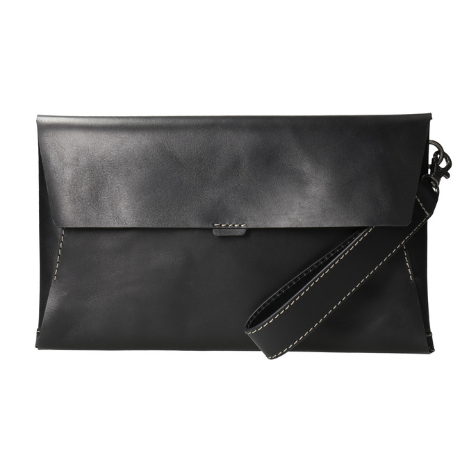 Black leather clutch bata, black , 966-6285 - 26