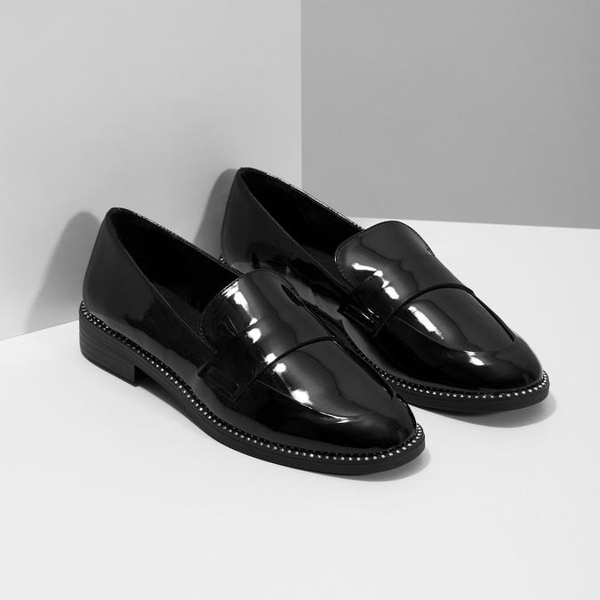 Ladies' patent moccasins bata, black , 511-6607 - 26