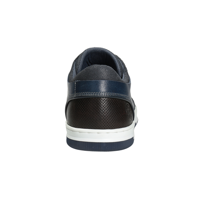 Blue leather sneakers bata, blue , 846-9927 - 16