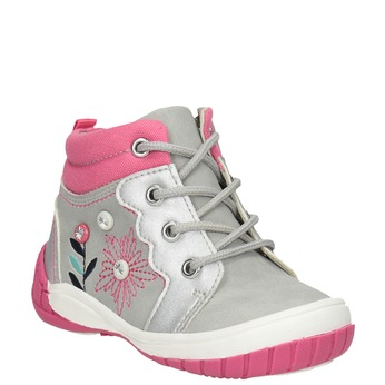 Kids' ankle boots with embroidery bubblegummer, gray , 121-2619 - 13