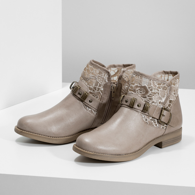 Ladies' ankle boots with lace bata, gray , 591-2628 - 16