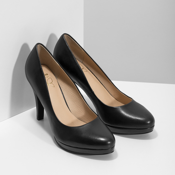 Black leather pumps insolia, black , 724-6104 - 26