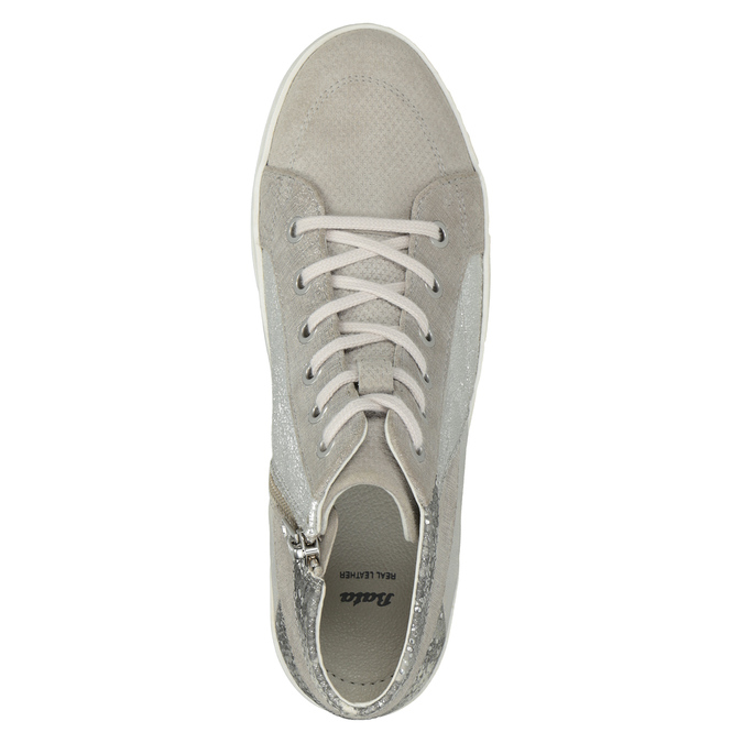 Leather high-top sneakers bata, gray , 546-2608 - 15