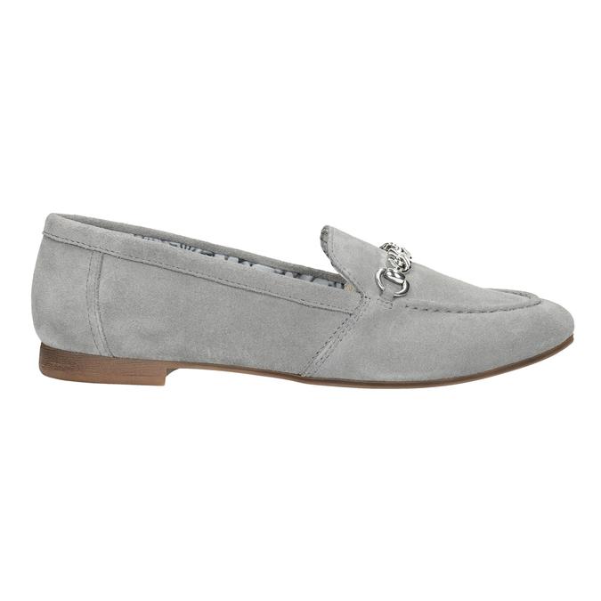 Grey leather moccasins bata, gray , 513-2615 - 26