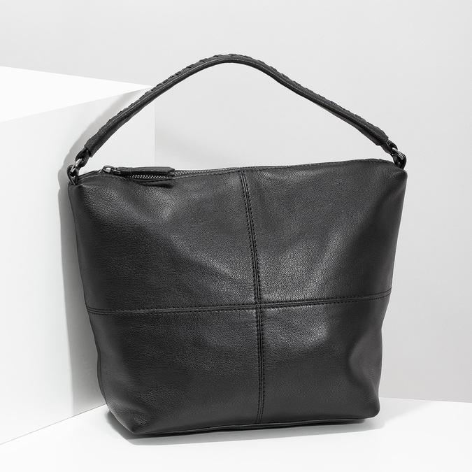 Leather handbag with a detachable strap, black , 964-6233 - 17